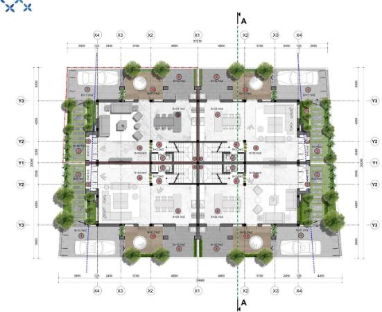 Mặt bằng tầng 1 Shophouse dự án Sun Group Quang Hanh