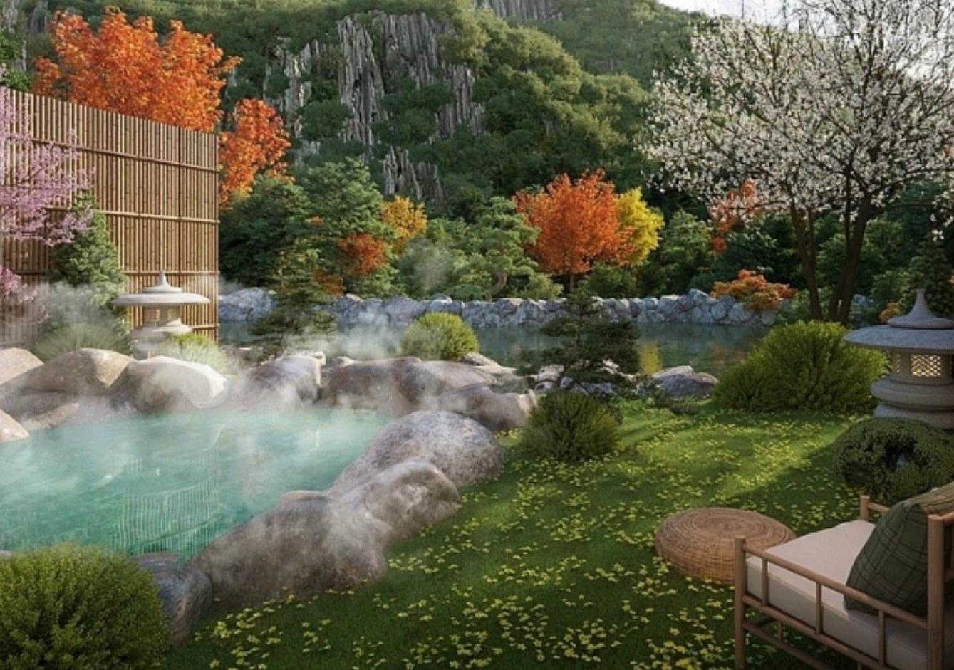 Bể tắm dự án Sun Onsen Village Quang Hanh